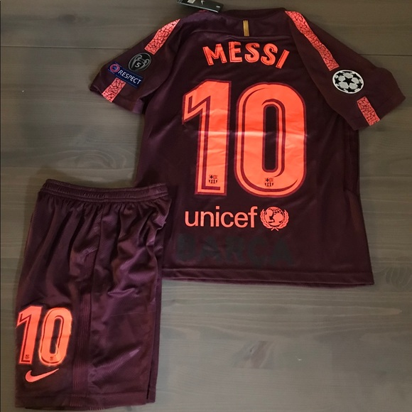 fdcc9252b2b Kids kit Barcelona burgundy Messi  10 nike soccer